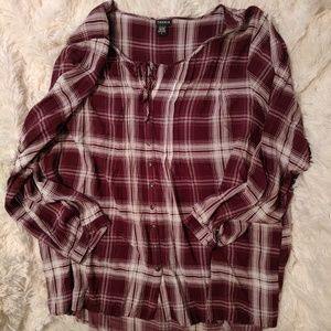 Size 4 Berry Plaid Long Sleeve Torrid High Low Top